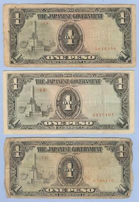 Banknotes Money, Japanese Occupation of the Philippines, Three One Peso Notes