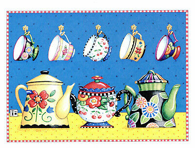 Mary Engelbreit-TEAPOTS TEACUPS CHERRY FLORALS-Greeting Card-NEW!
