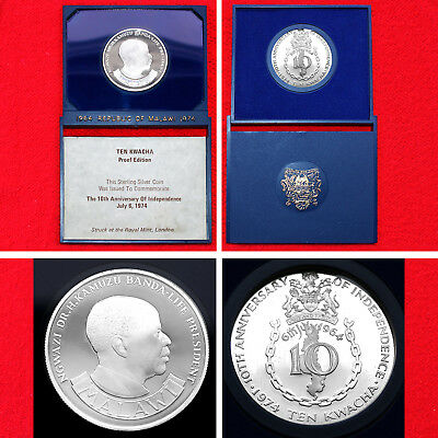 1974 MALAWI 10 KWACHA 10th ANNIVERSARY OF INDEPENDENCE .925 SILVER PROOF COIN