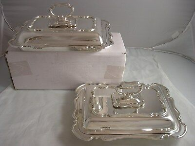 1930 George V Art Deco Pair Quality Silver Baby Entree Dishes 2798 grams Atkin