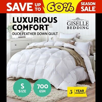 Giselle Bedding Duck Down Feather Quilt 700GSM Blanket Duvet Doona Winter Single