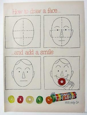 EYECATCHING Original 1951 Life Savers Candy Ad HOW TO DRAW A FACE & ADD A SMILE