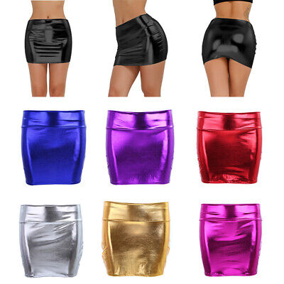 Mini Rock Stretch Damen Sexy Lack Leder Glitzer Pencilrock Wetlook Minirock