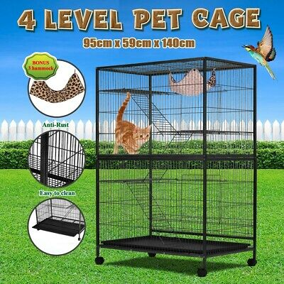 4 Level 140cm Pet Cage House Cat Hamster Rat Budgie Bird Parrot Aviary On Wheels