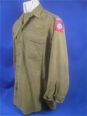 WWII US Army Olive Drab wool Shirt,  82nd Airborne,  Original