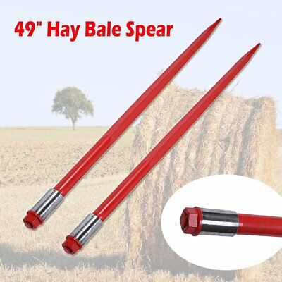 "2pcs 49"" Square Hay Bale Spears Fork 3000 lbs 1 3/4"" Wide w/ Nut Sleeve Conus 2"