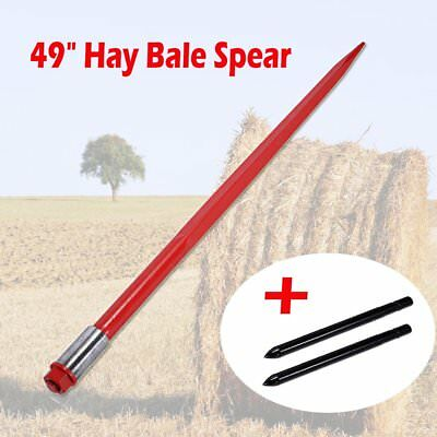 """49"""" Tractor Hay Spear w/ 2 Stabilizers Bale Spike Fork Tine Skid Steer 3000 lbs"""
