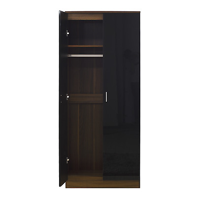 2 Door Soft Close Plain Wardrobe in Gloss Black / Walnut - REFLECT Bedroom