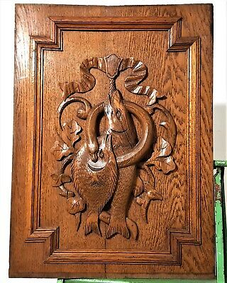 HAND CARVED WOOD PANEL ANTIQUE FRENCH FISHING HUNTING ARCHITECTURAL SALVAGE 19th