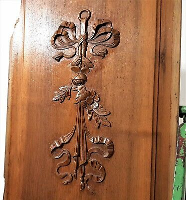 Architectural Salvage Antique French Hand Carved Wood Bow Flower Panel Panelling