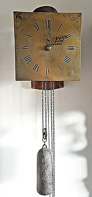 Longcase Clock English 18c John Lawrence Wynn Pendulum Weight Wall Mount Rare