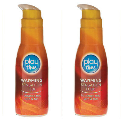 2 x Playtime Warming Sensation Lube Sex Lubricant Water Based Condom Safe 75ml