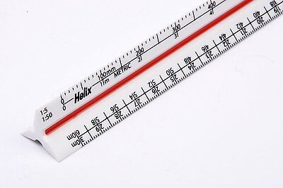 Helix 300mm Metric Triangular Scale Rule Solid Plastic Ruler