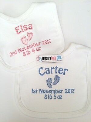 Personalised Embroidered Baby Bib (feet) Birth Details Date Name Weight New Gift