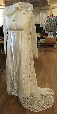 Vintage 1970's Wedding Dress With Lace Hood Size S