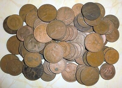 Lot of 94 GREAT BRITAIN ONE PENNY & HALF PENNY COINS (1910-1967)