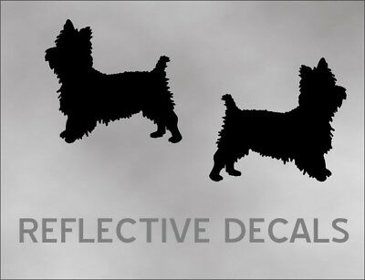 REFLECTIVE PAIR DECAL YORKIE YORKSHIRE terrier dog in BLACK