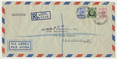 MOROCCO AGENCIES -TANGIER 1952 REG COVER TO USA, AIRMAIL 1sh7d RATE (SEE BELOW