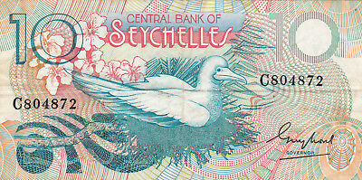 10 Rupees Vf Banknote From Seychelles 1979!pick-23