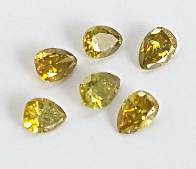 6 Echte Diamanten in Tropfen-Form / behandelt Gelb (ges 0,93 ct) ca 3,7 - 4,3 mm