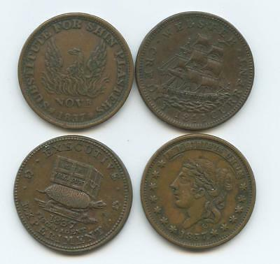 Four Different 1837 U.s. Hard Times Tokens - Sailing Ship, Turtle, Eagle, Donkey