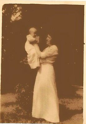 Huge Old Vintage Antique Photograph Mother and Baby