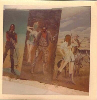 Old Vintage Antique Photograph Huge Paintings Standing On the Ground