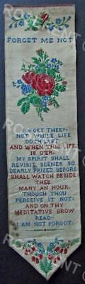 """Victorian  Stevengraph Bookmark  """"Forget Me Not -Forget thee not while life  """""""