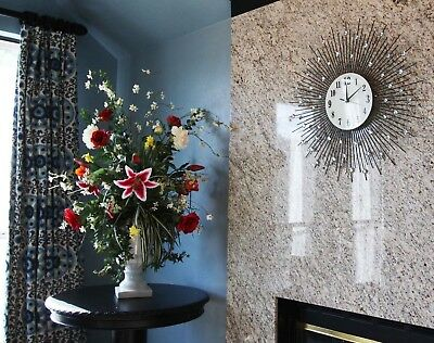 "27""D Oversized Metal Radiant Crystal Sun Explosion Contemporary Style Wall Clock"