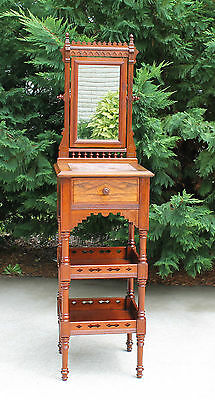 Victorian Eastlake Walnut & Burl Shaving Stand Brown Marble & Shelves & Drawer