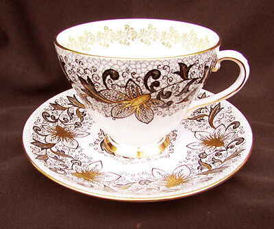Royal Grafton Mantilla pink porcelain cup saucer flowers gold accents