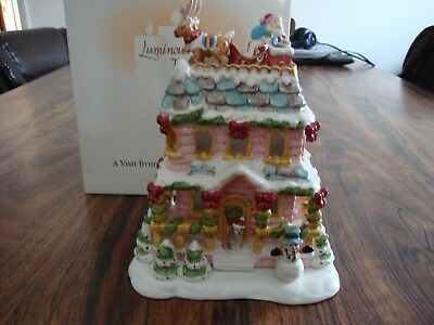 "Avon ""A Visit From Santa"" Porcelain TeaLight House Luminous Treasures CandleTray"