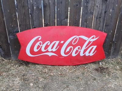Coca Cola vintage fishtail metal advertising sign AM12 42 inch
