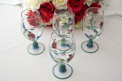 Set of 4 Lenox Poppies on Blue Glasses Goblets Hand painted in Italy Water Tea