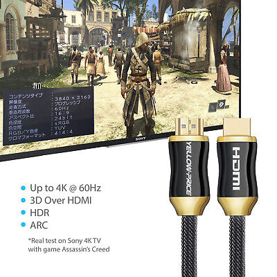 HDMI Cable 2.0 HDR Gold Plated HDTV 1080P 3D 4K Ultra HD ARC CES 2160p Lead Cord