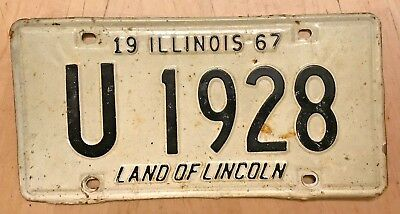 """1967  Illinois State Govt Auto License Plate """" U 1928 """" Il Official State Owned"""