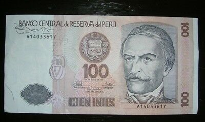 1987 uncirculated 100 intis bank note from peru 100 picclick uk 1 peru 1987 100 cien intis bank note thecheapjerseys Image collections