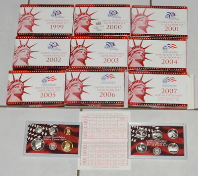 USA  KMS  +  5 x 25 Cent   1999 PP bis 2007 PP  in Silber ****