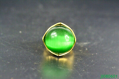 China Collectible old GREEN jade Carve Flower Beauty Inlay NOBLE Ring
