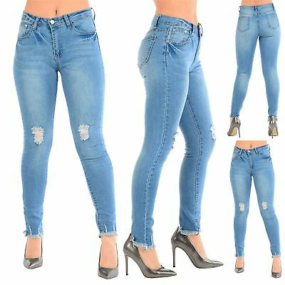 Womens Ladies Faded Frayed Hem Ripped Destroyed Distress Skinny Fit Denim Jeans
