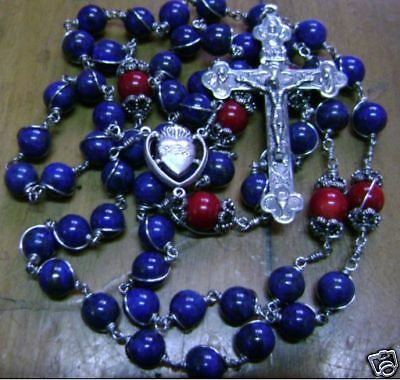 Sterling Silver Rosary Wire Wrapped Lapis lazuli Bead crucifix catholic necklace