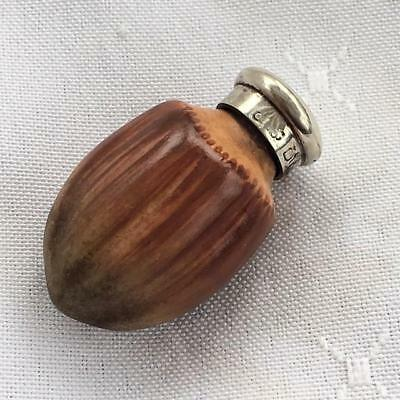 Antique Macintyre Porcelain Hazelnut Perfume Scent Bottle Silver Lid C1880