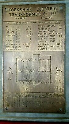 "YORKSHIRE ELECTRIC TRANSFORMER Co, DEWSBURY 12"" x 7"" BRASS  PLAQUE DATED 1955"