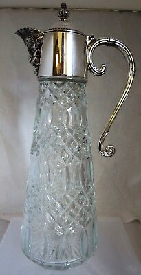 """Bacchus Face Silver plate and Glass Claret Jug by Falstaff 11.2"""" tall"""