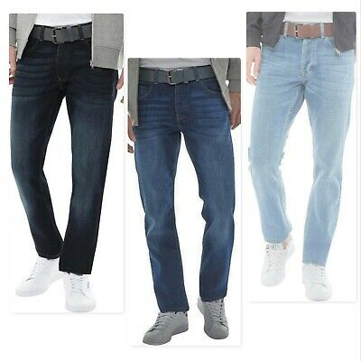 Men's New CROSSHATCH Straight Leg Jeans Size W30-32-34-36-38-40 Button Fly