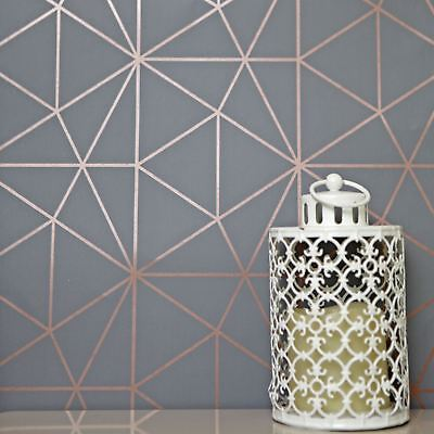 Metro Prism Geometric Triangle Wallpaper Charcoal Grey / Copper - Wow007