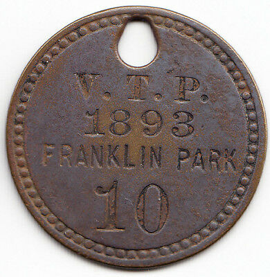 Franklin Park (Illinois?) 1893 Dog License Tag