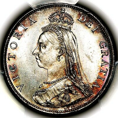 1887 Queen Victoria Great Britain Silver Florin Coin PCGS MS64