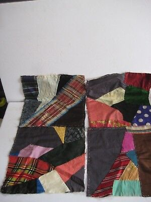 """LOT OF 10 12"""" X 12"""" LATE 1800's SATIN & SILK PATCHWORK QUILT SQUARES"""