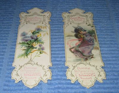 2 x Vintage French Advertising Bookmarks SCHAAL Cocoa Chocolate